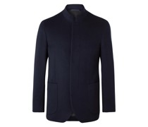 Slim-Fit Nehru-Collar Cashmere Blazer