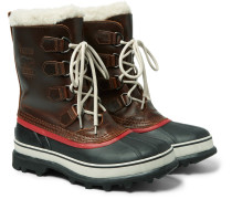 1964 Caribou Faux Shearling-trimmed Waterproof Leather And Rubber Boots