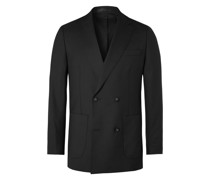 Leon Unstructured Double-Breasted Virgin Wool-Flannel Suit Jacket