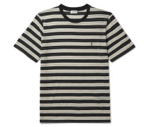 Logo-Embroidered Striped Wool-Jersey T-Shirt