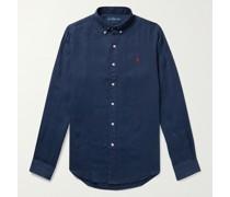 Slim-Fit Button-Down Collar Linen Shirt