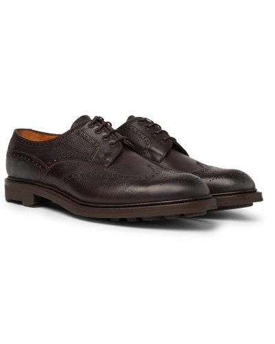 Borrowdale Textured-leather Wing-tip Brogues - Brown