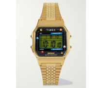 + Pac-Man T80 34mm Gold-Tone Stainless Steel Digital Watch