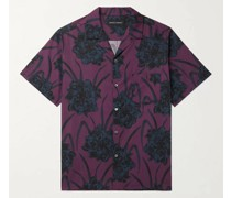 Cuban Camp-Collar Printed Cotton Pyjama Shirt
