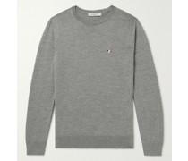 Slim-Fit Logo-Appliquéd Wool Sweater