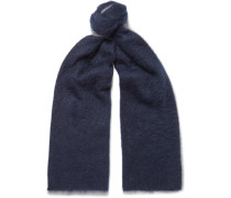 Fringed Colour-block Mohair-blend Scarf