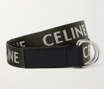 3cm Leather-Trimmed Logo-Jacquard Canvas Belt