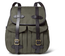 Leather-trimmed Twill Backpack