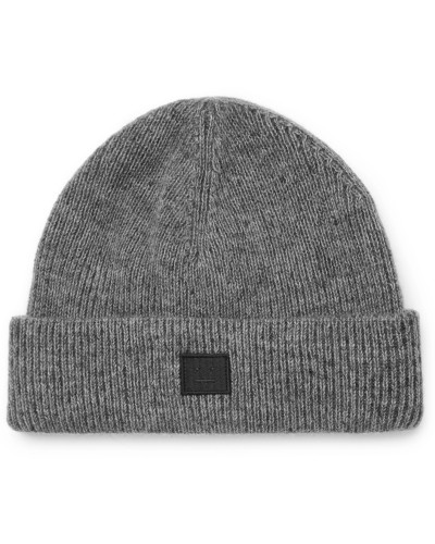 Ribbed Wool-blend Beanie - Gray