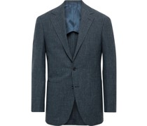 Slim-Fit Unstructured Prince of Wales Checked Wool, Cotton and Linen-Blend Blazer