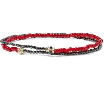 Glass, Hematite And Gold Bead Wrap Bracelet