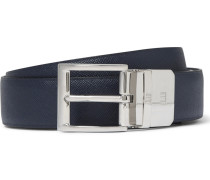 3cm Blue And Black Reversible Leather Belt