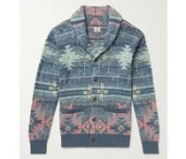 Heritage Slim-Fit Shawl-Collar Organic Cotton-Jacquard Cardigan