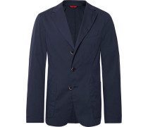 Navy Slim-fit Stretch Cotton-blend Poplin Blazer