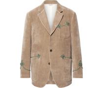 Beige Passementerie-trimmed Embroidered Cotton And Linen-blend Velvet Blazer - Beige