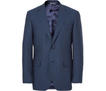Blue Slim-fit Birdseye Super 120s Wool Suit Jacket