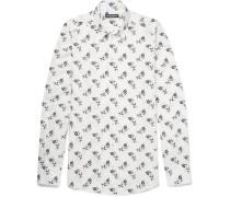 Slim-fit Floral-print Cotton-poplin Shirt