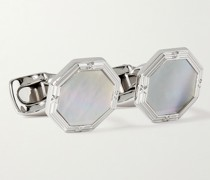 Sterling Silver and Mother-of-Pearl Cufflinks and Dress Studs Set
