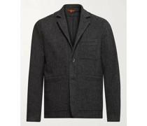 Unstructured Herringbone Wool-Blend Blazer