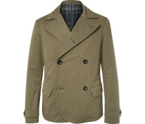 Slim-fit Double-breasted Water-repellent Cotton Jacket