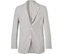 Grey Unstructured Striped Cotton-seersucker Suit Jacket