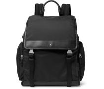Sartorial Jet Cross-Grain Leather-Trimmed Nylon Backpack