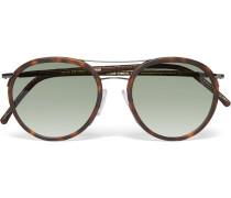 Aviator-style Leather-trimmed Tortoiseshell Acetate Sunglasses