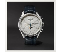 Clifton Automatic Calendar Moon-Phase Chronograph 43mm Stainless Steel and Alligator Watch, Ref. No. 10408