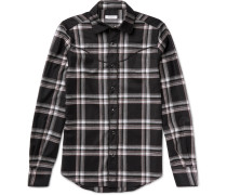 Slim-fit Checked Wool-flannel Western Shirt