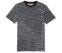 Slim-fit Wrinkled Striped Cotton T-shirt