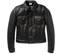 + Schott Cropped Shearling Biker Jacket
