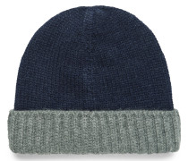 Color-block Ribbed Cashmere Beanie