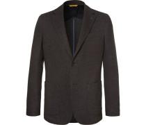 Brown Unstructured Wool And Cotton-blend Blazer