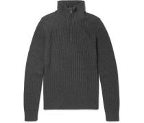 Slim-fit Ribbed Wool Half-zip Sweater