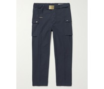 Maxence Belted Garment-Dyed Cotton Cargo Trousers