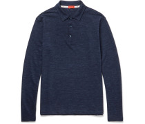 Mélange Wool And Cotton-blend Polo Shirt