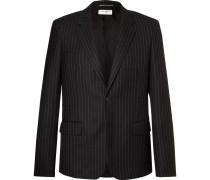 Black Slim-fit Pinstriped Wool-twill Blazer