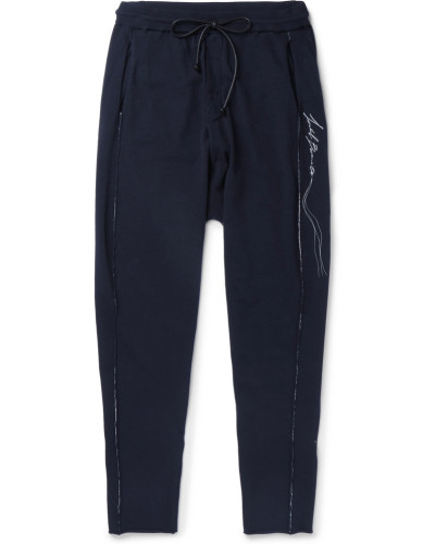 Logo-embroidered Knitted Sweatpants - Midnight blue