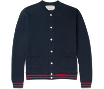 Appliquéd Fleece-back Cotton-jersey Bomber Jacket