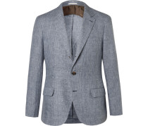 Blue Prince Of Wales Checked Slub Linen Suit Jacket