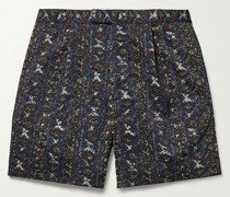 Pleated Printed Twill Shorts