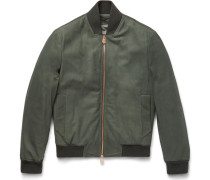 Snake-embroidered Leather Bomber Jacket