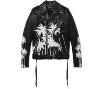 Embellished Hand-painted Vitellino Leather Biker Jacket