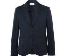 Navy Slim-fit Linen And Cotton-blend Blazer