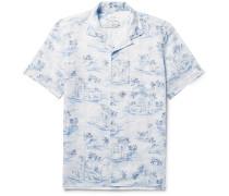 Slam Camp-collar Printed Linen Shirt