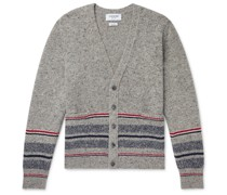 Slim-Fit Striped Mélange Wool and Mohair-Blend Cardigan