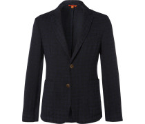 Navy Unstructured Checked Woven Blazer