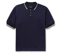 No Sleeves Landing Stripe-Trimmed Cotton Polo Shirt