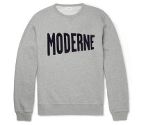 Flocked Mélange Fleece-back Cotton-jersey Sweatshirt