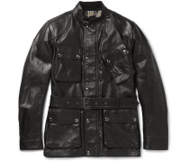 Panther Slim-fit Belted Leather Jacket